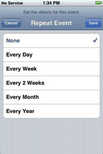 Calendar add events Screenshot on iPhone