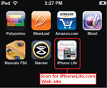 Place a web icon on your ipod or iphone's home page