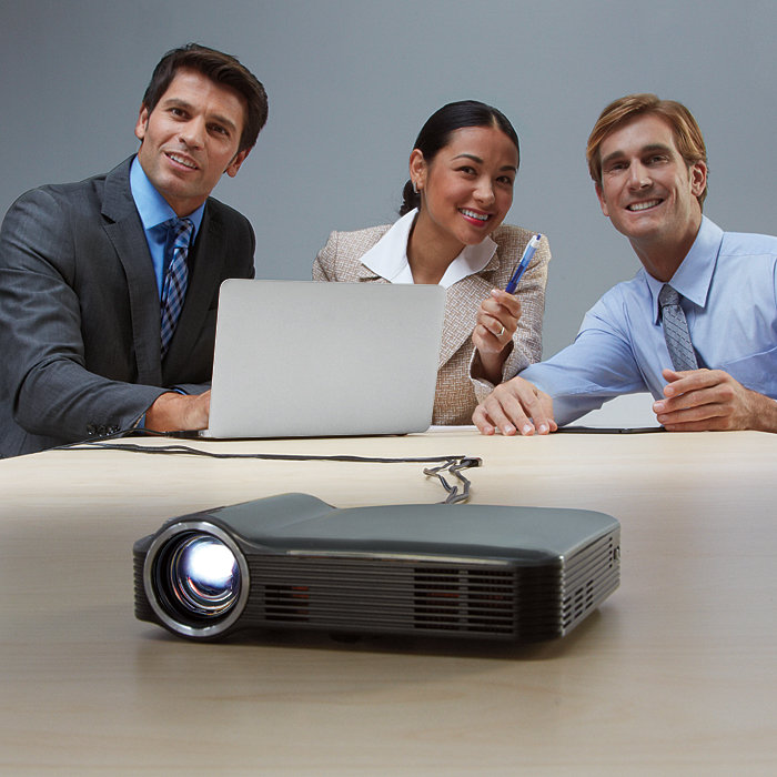 Mirror Your iDevice on a 115-Inch Screen With The Brookstone HDMI Pocket Projector Pro.