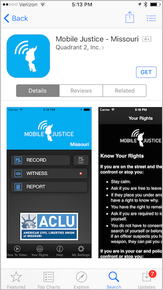 ACLU Mobile Justice iPhone app
