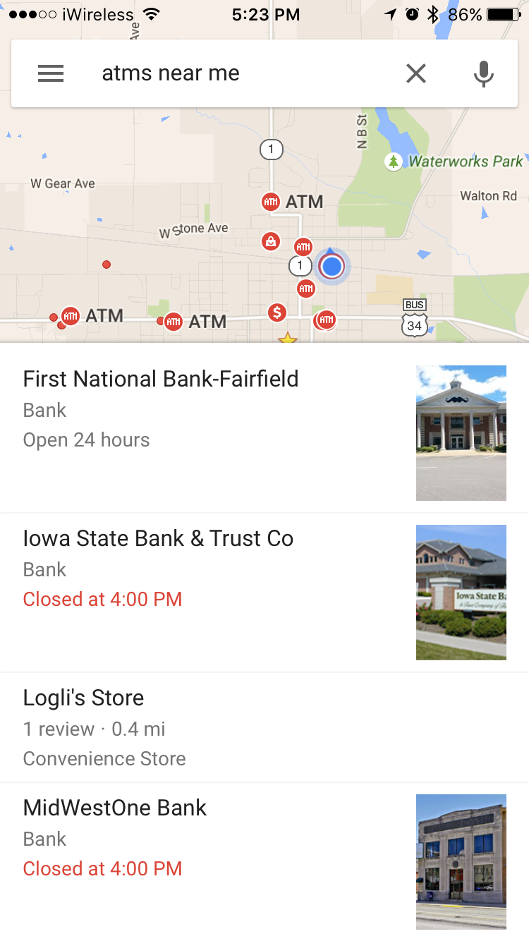 How to Use Google Maps to Find Nearby ATMs | iPhoneLife.com Show Me The Google Maps on show me itunes, show me email, show me bill gates, show me ipad, show me maps, show me iphone, show me skype, show me apps, show me the internet, show me go, show me walmart, show me facebook, show me home, show me dell, show me pinterest, show me sun, show me business, show me xbox, show me tv, show me apple,