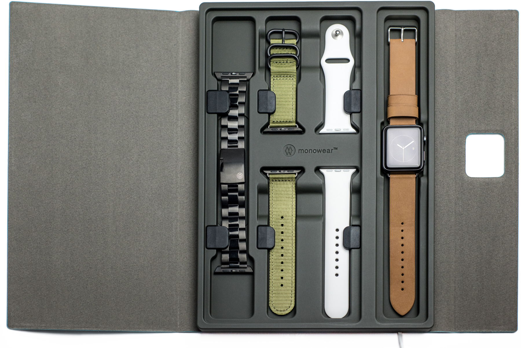 5c052c18de5b7 I've seen plenty of travel kits for Apple Watch, but the Monochest ($79.99)  by Monowear is the first Apple Watch band holder I've encountered.