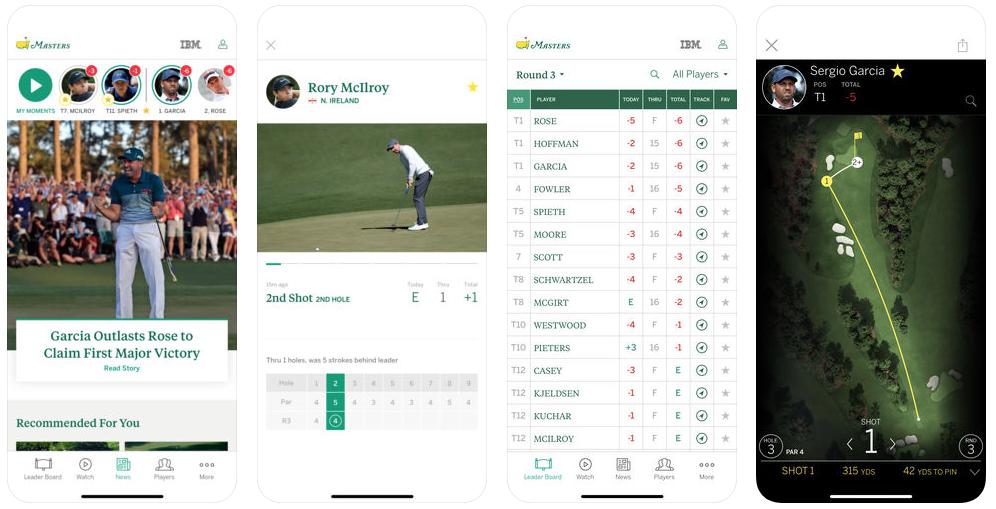 masters golf app 2018