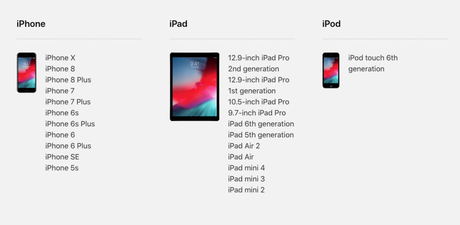 ios 12 compatible devices