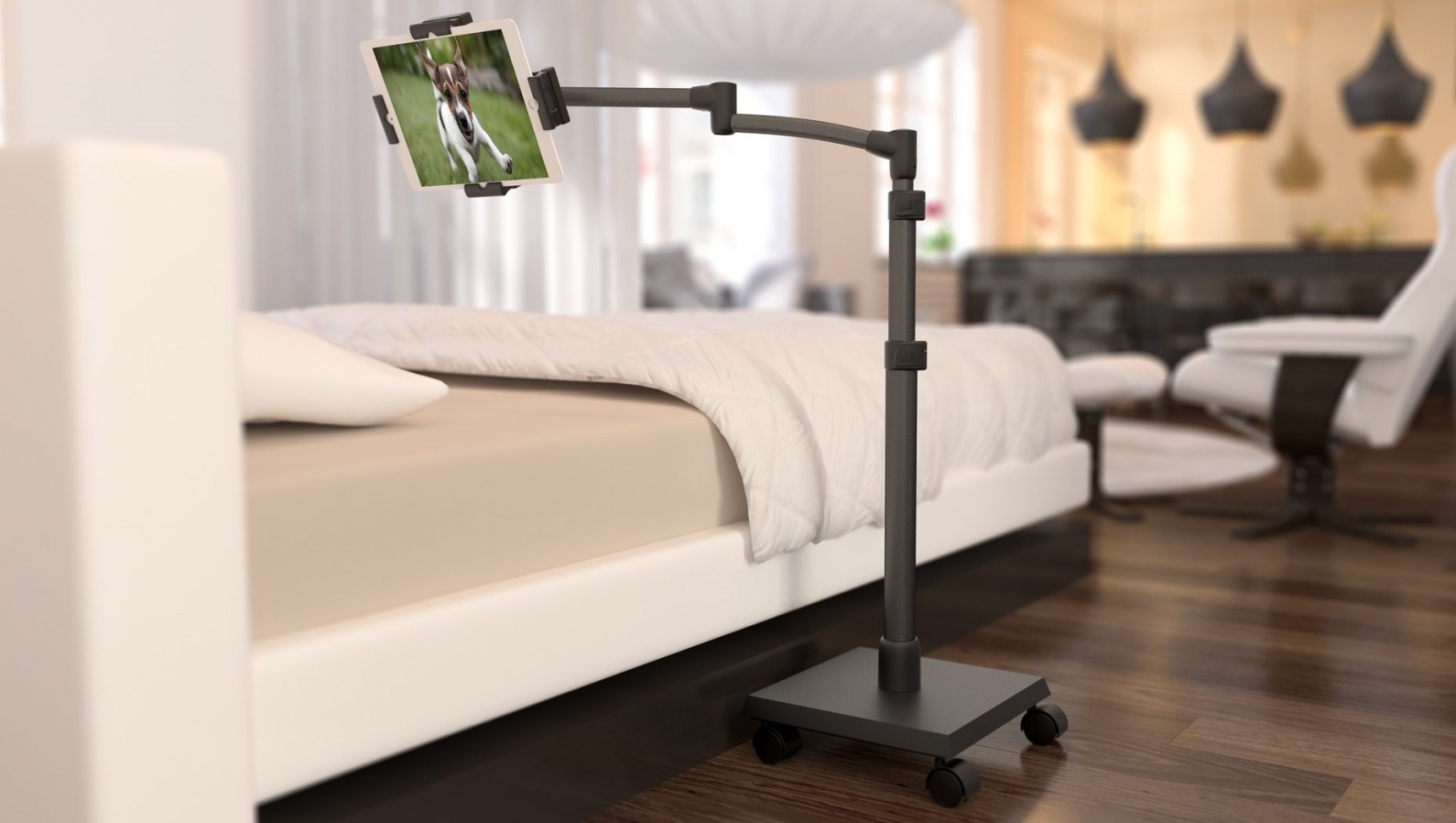 LEVO G2 Deluxe Tablet Stand next to bed