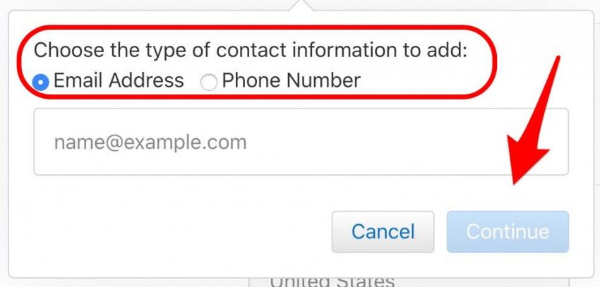 enter new email or phone number apple id