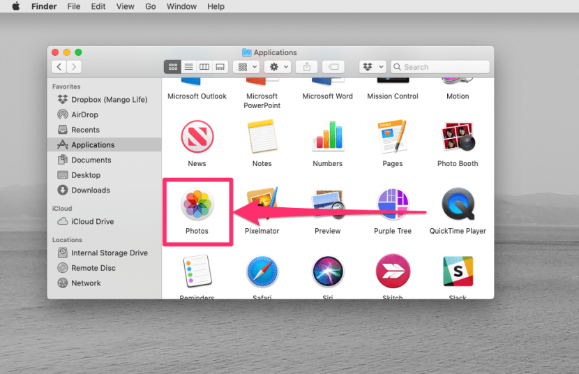 An image of the mac finder with the Photos application outlined.