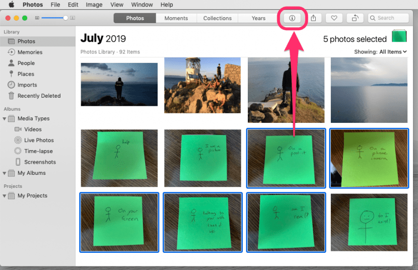 an image of the Photos application with some images selected and the Get Info button outlined.