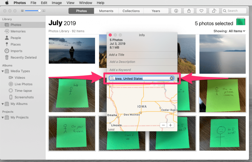 An image of the Info dialogue box in the Photos application, with the Location field outlined.