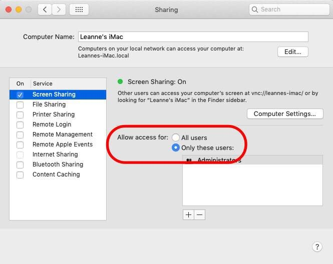 screen sharing mac options