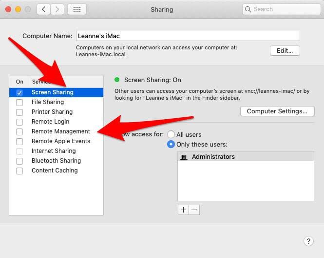turn on apple screen sharing
