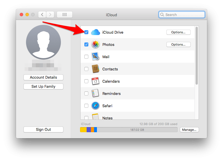 enable iCloud drive on the Mac