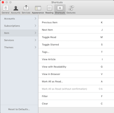 Reeder 3 OSX Keyboard Shortcuts