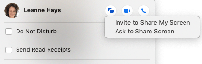 screen sharing options on imessage
