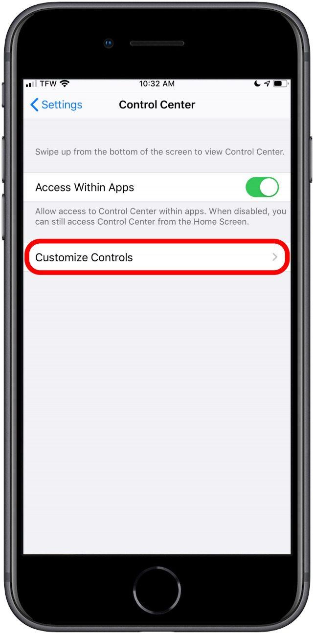 select Customize Controls
