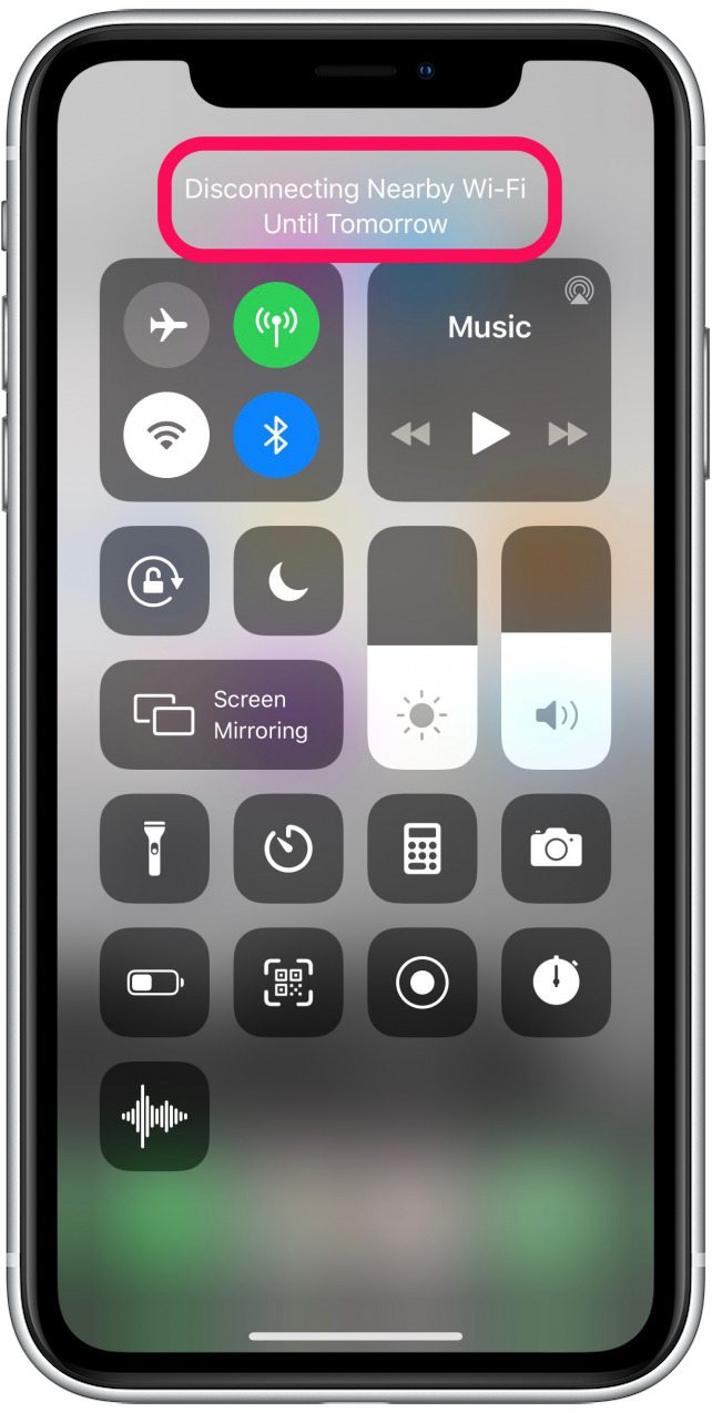 disconnect wifi iphone control center