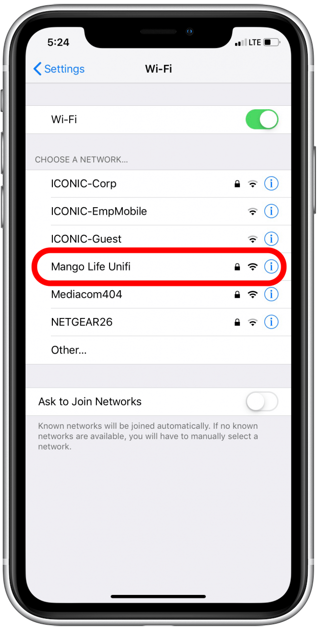 choose wifi network