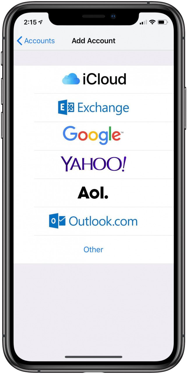 how to add an email account on iphone