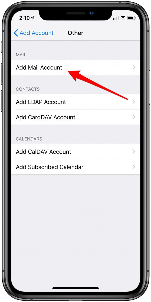how to add email account to iphone