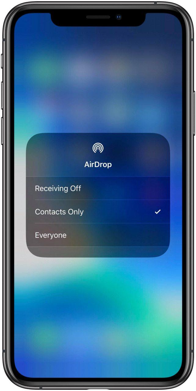 iphone airdrop settings