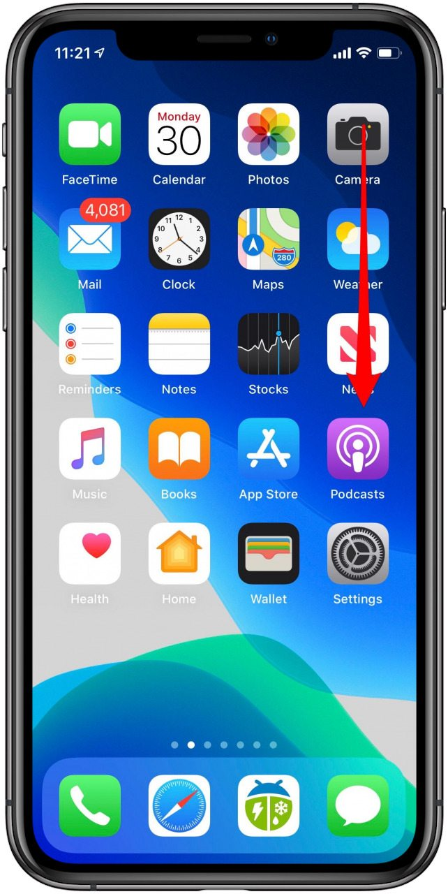 open control center on iphone x and later