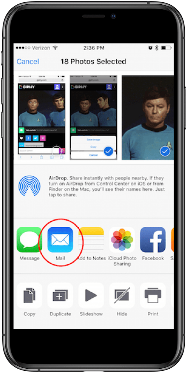 tap the mail app icon to send your photos