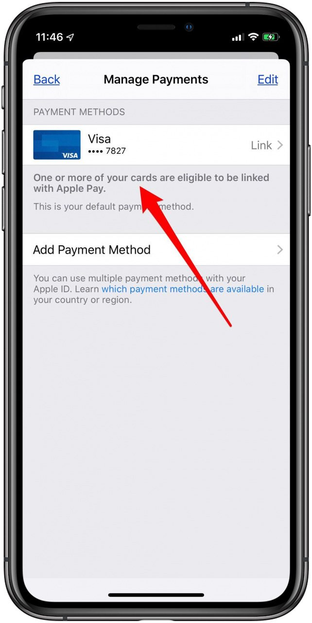 apple id payment method in settings