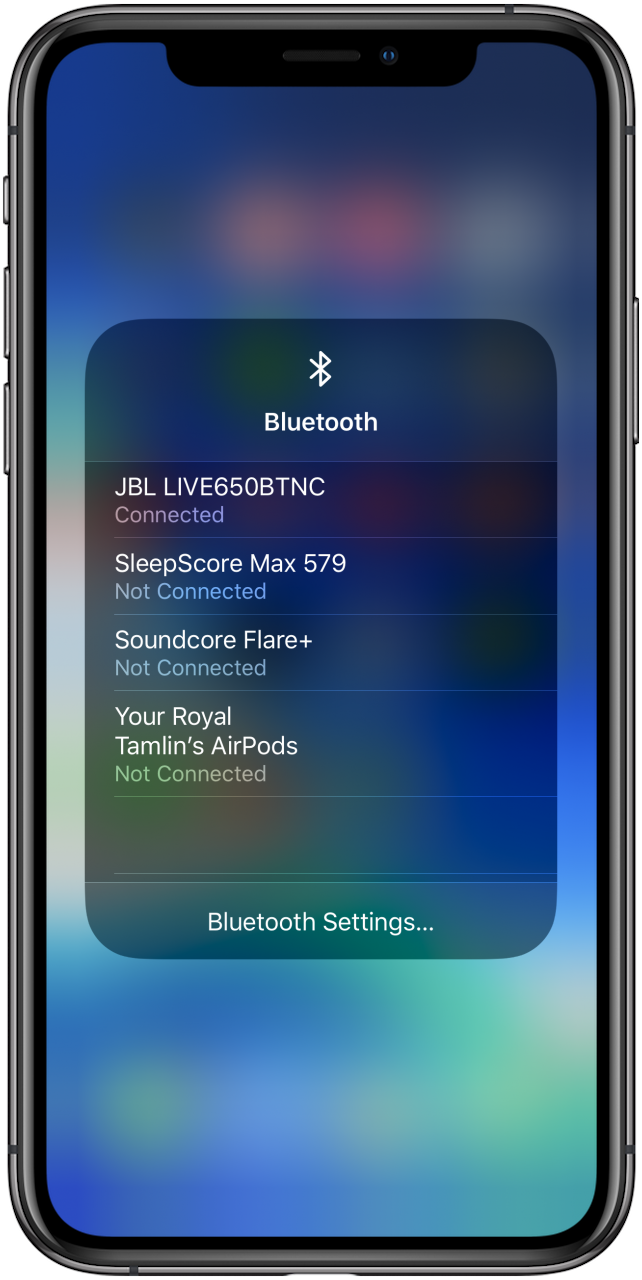 turn on bluetooth in control center