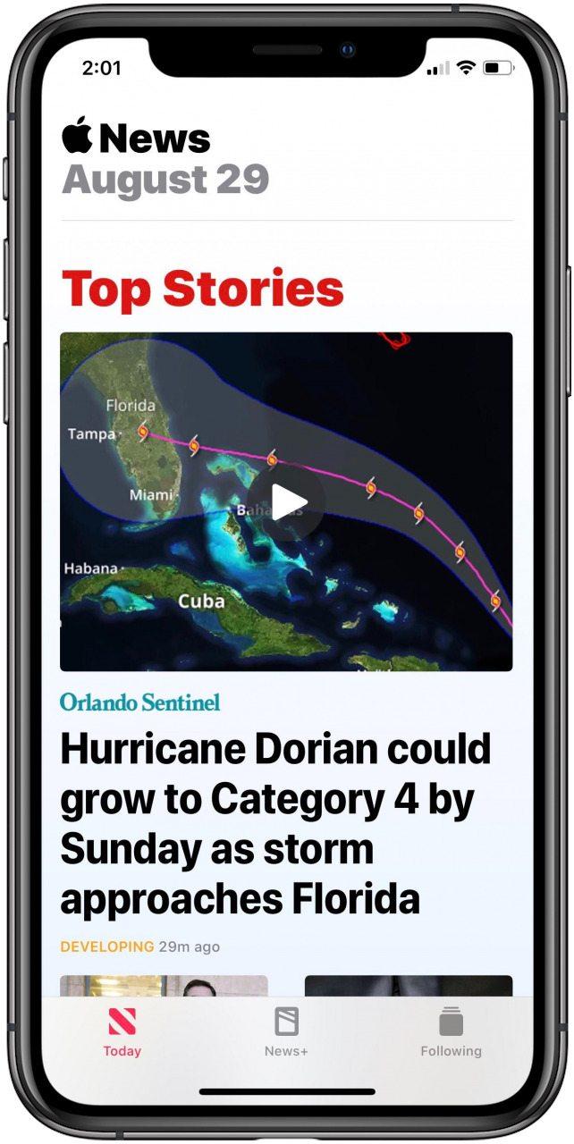 news app as it appears in light mode