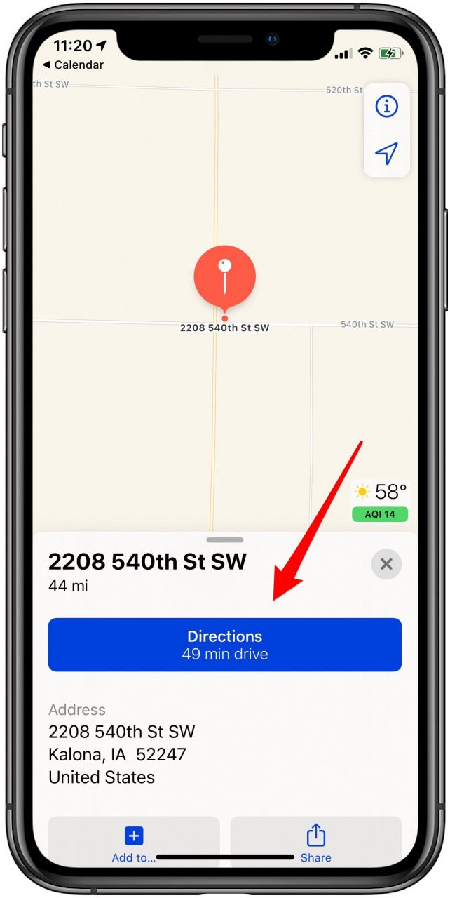 tap to get directions from calendar entry
