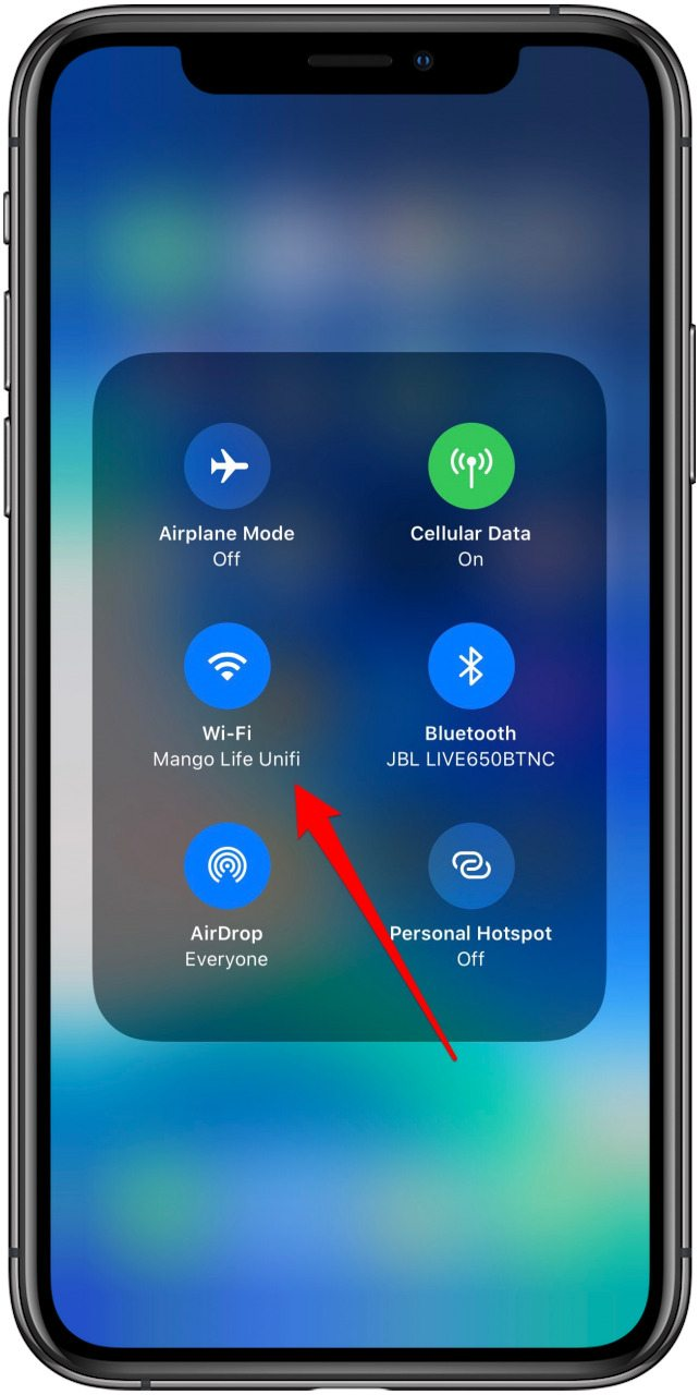 touch and hold wifi icon