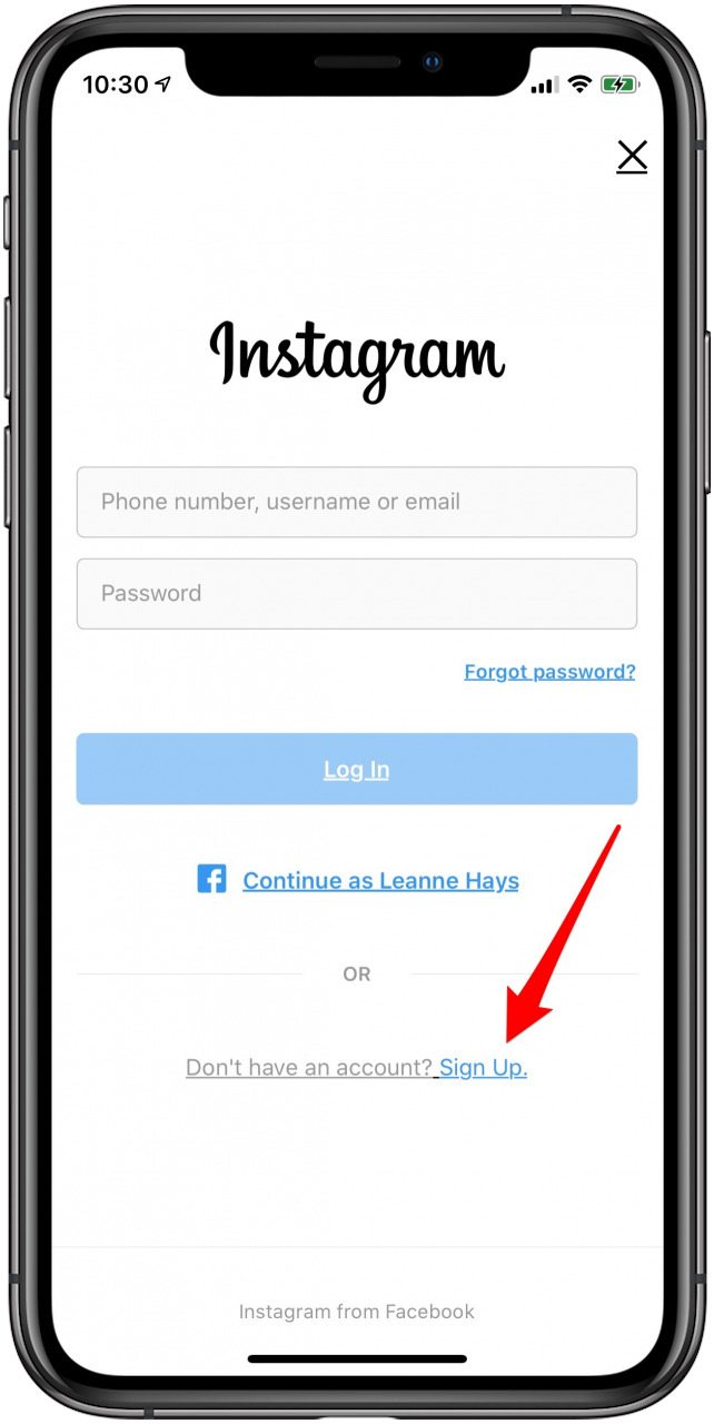 sign up for a new instagram account