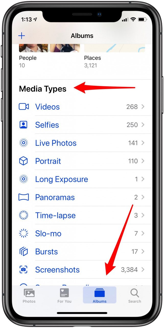 media types in the photos app