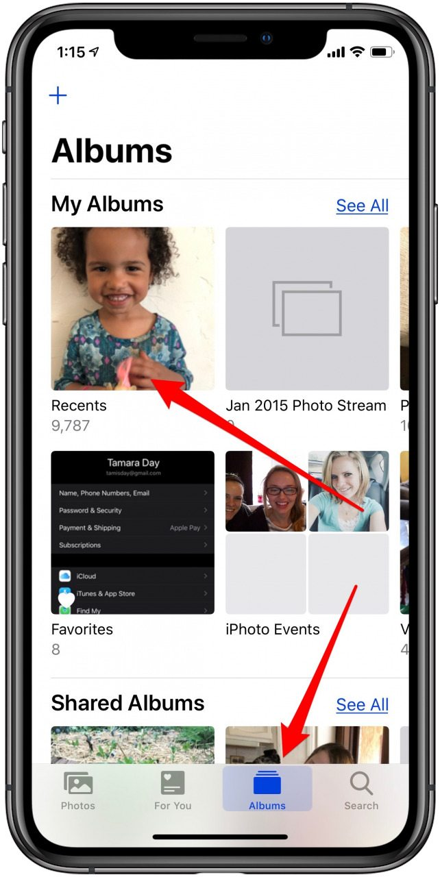 find your live photo video in recents
