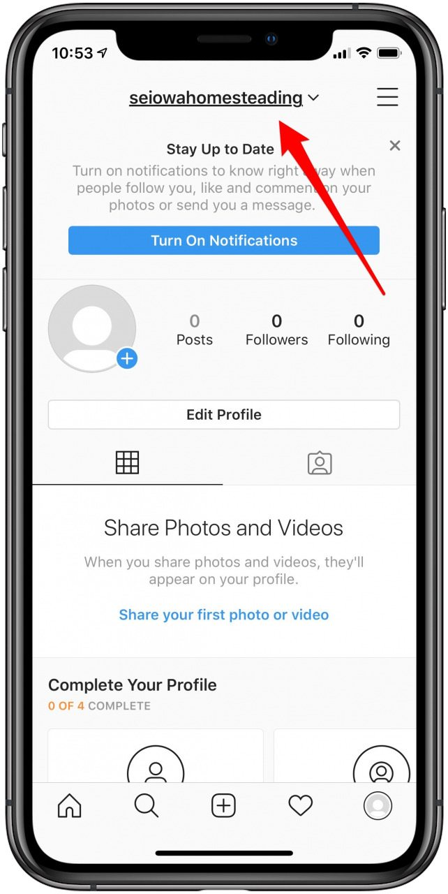 tap on your instagram account name