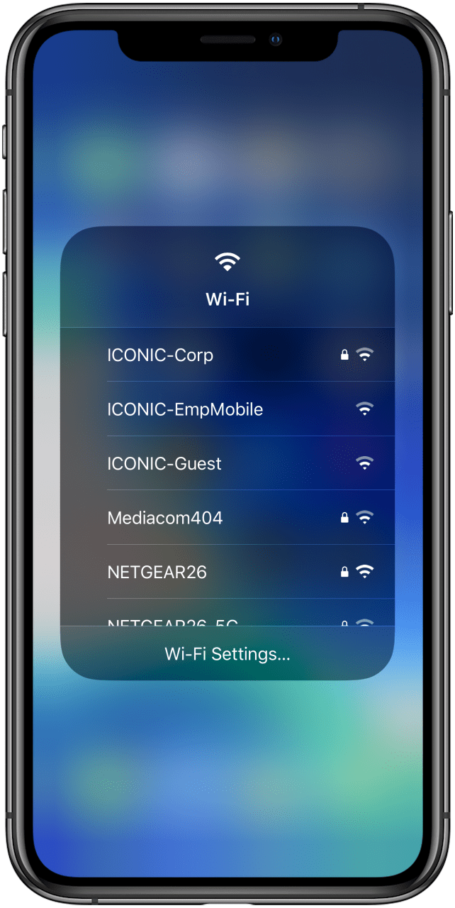 change wifi network in control center