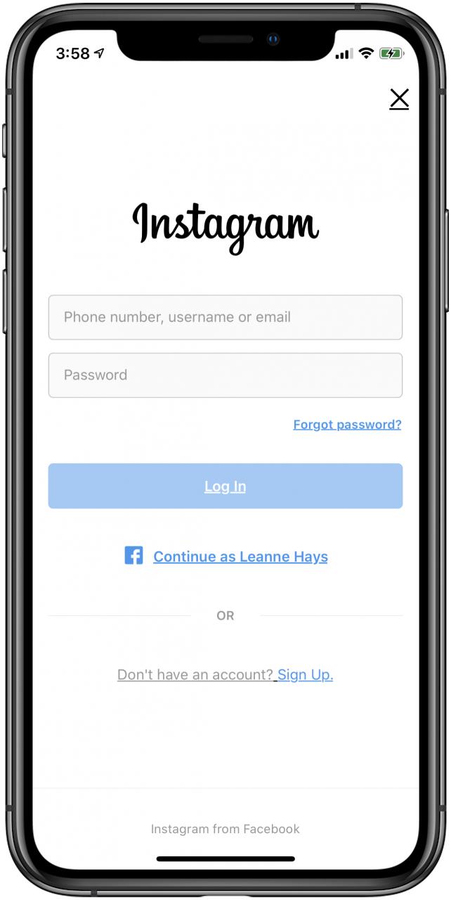 combine instagram accounts to one login