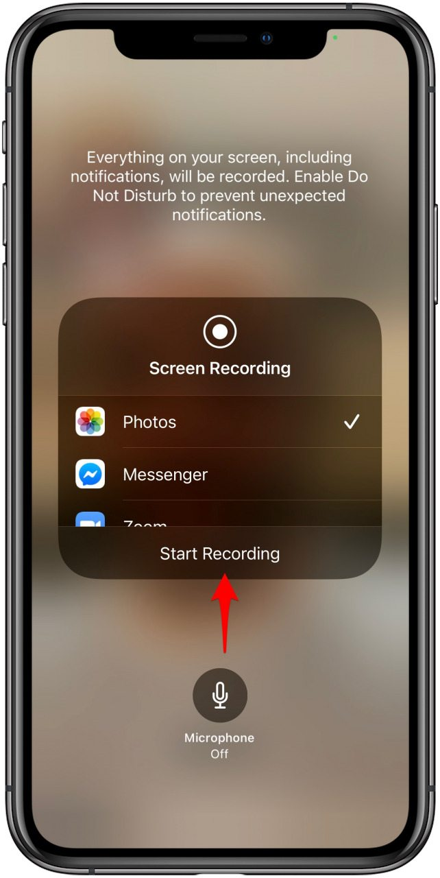 Press the gray microphone button to turn on the microphone