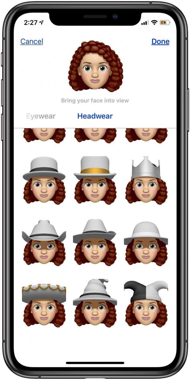 memoji hats iphone