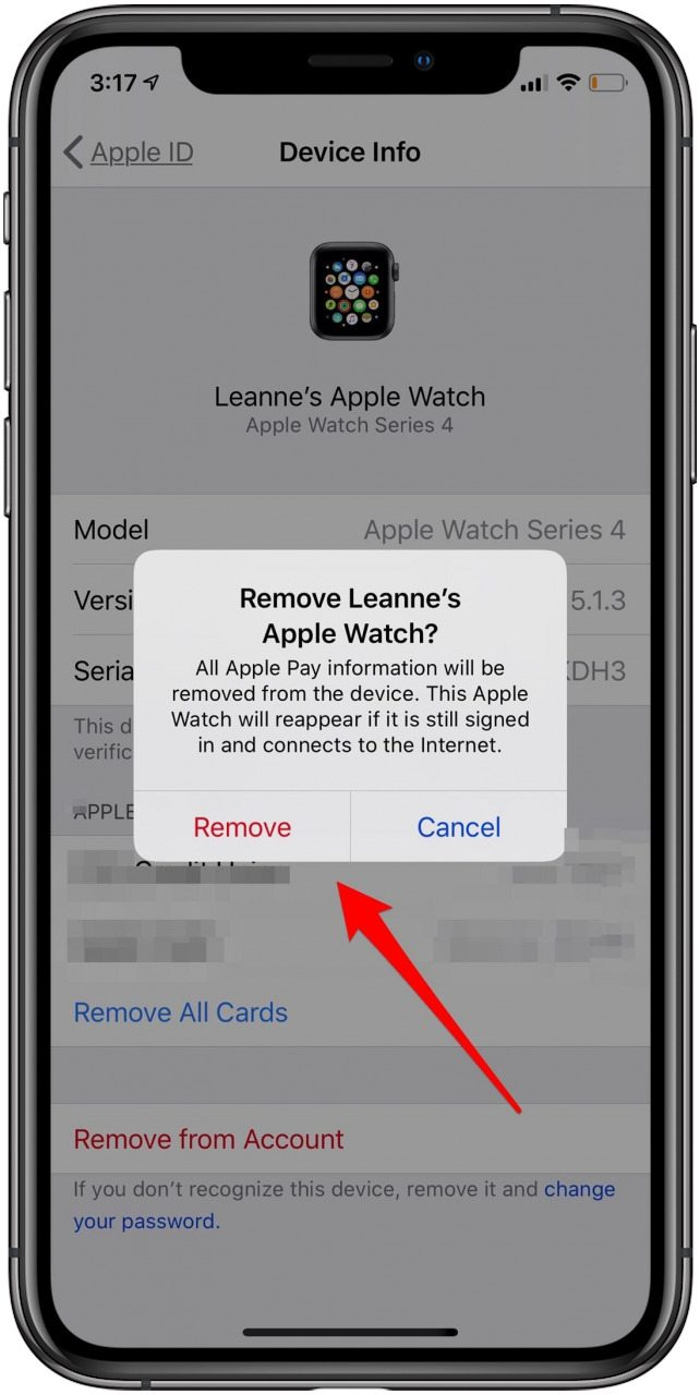 remove device from apple id list