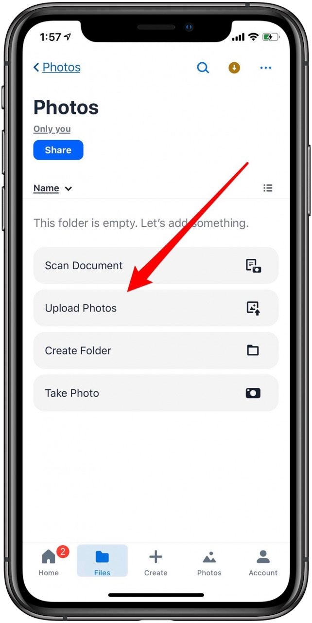 upload photos to dropbox from iphone
