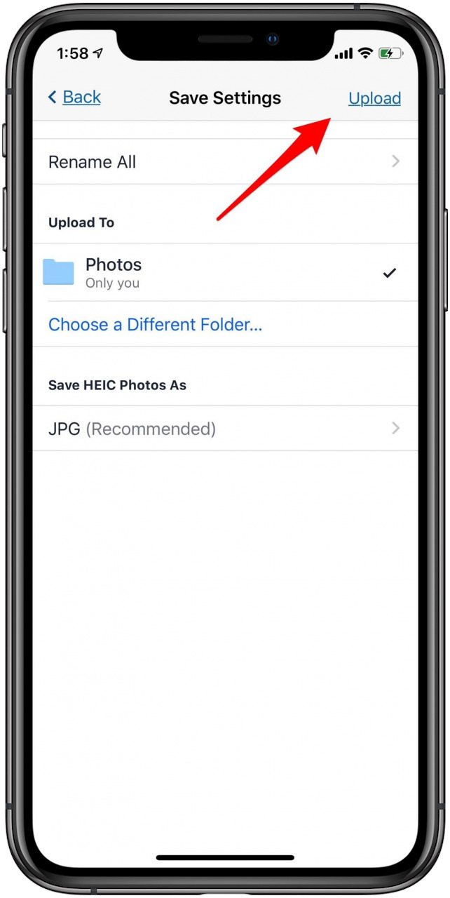 upload pics from iphone to dropbox
