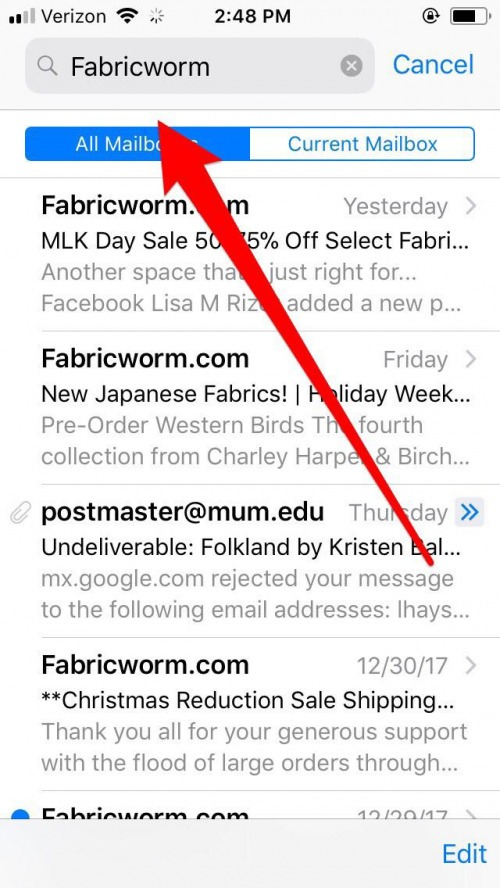 bulk delete email on iphone
