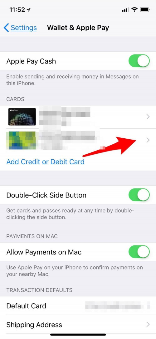 delete credit card apple wallet