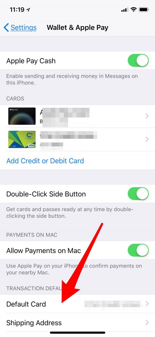 default card apple pay