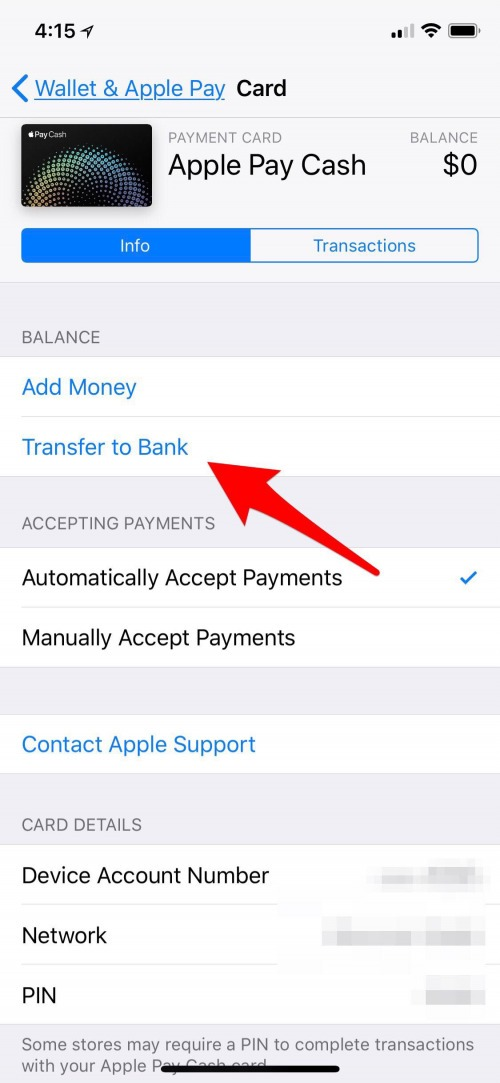 transfer money to bank from apple pay
