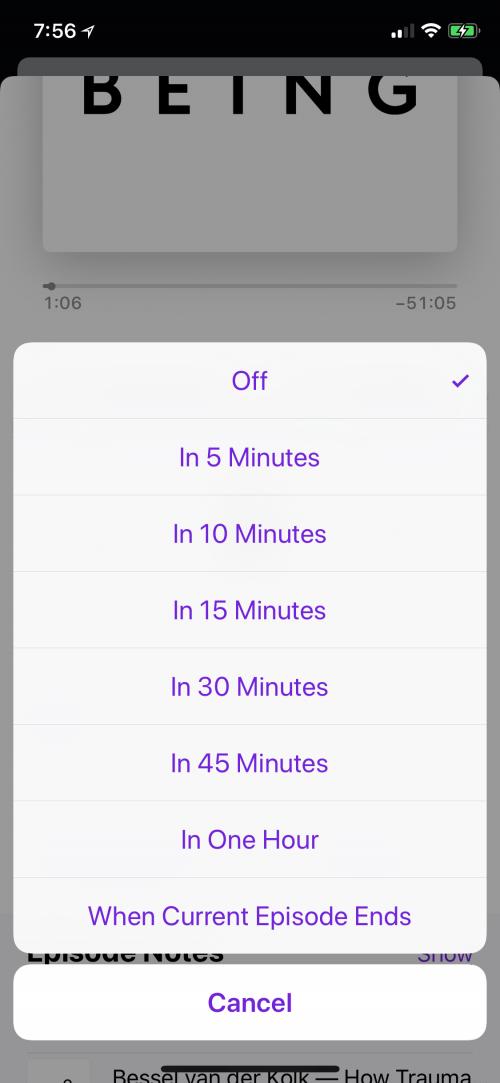 iphone ios 11 podcast sleep timer