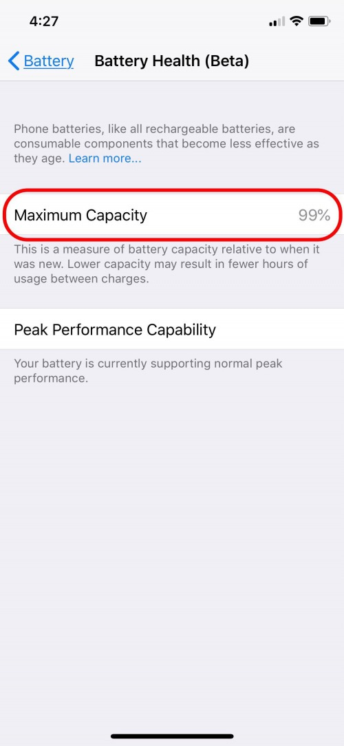maximum battery capacity