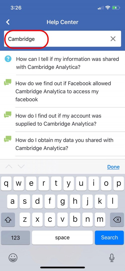 was my facebook data shared to cambridge