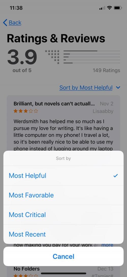 sort app store reviews